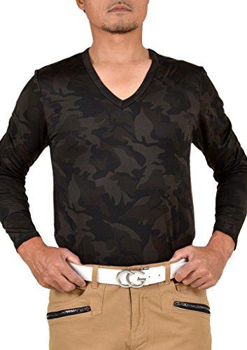 【コモンゴルフ】 COMON GOLF +3℃ 裏起毛 発熱 長袖 Vネック ゴルフ Tシャツ NF-NEK18 L カーキカモ
