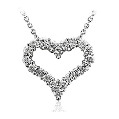 14k White Gold Diamond Heart Pendant - 14K White Gold Heart Diamond Pendant Necklace (0.97 Carat)