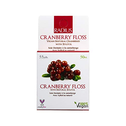 RADIUS - Vegan Xylitol Soft Floss, Xylitol for an Oral Care Boost, 100% Vegan (Cranberry, 55 Yrd)