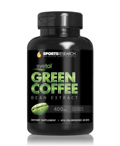 SVETOL Green Coffee Bean Extract 90 Liquid Softgels with 400mg of Clinically-Proven Svetol Per Cap