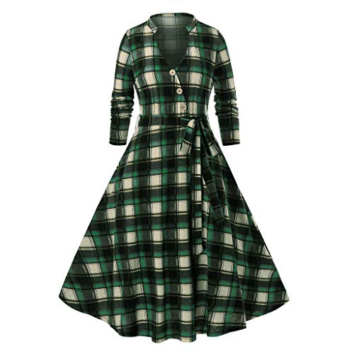 Lutos Women Vintage Plus Size V-Neck Long Sleeve Buffalo Check Plaid Print Button Belt Long Dress