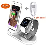 Charging Stand for Apple Watch and iPhone, Watch Charging Stand Dock Station Holder Compatible for iWatch Series 4/3/2/1/iPhone X/XS/XS Max /8/ 8Plus/ 7/7 Plus /6S /6S Plus - Aluminum - Silver