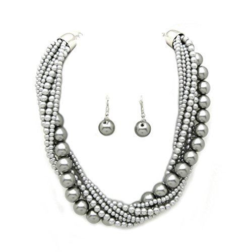 (Fashion 21 Women's Twisted Multi-Strand Simulated Pearl Statement Necklace and Earrings Set (Grey Tone))