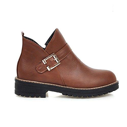 YE Damen Flache Ankle Boots Stiefeletten mit Schnallen Simple Elegant Bequem Schuhe Brown
