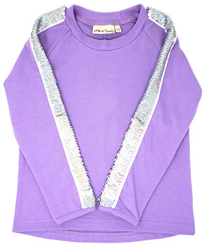 Glitter Flip Sequin Girl's T-Shirt Top Short/Long Sleeve, Fleece Jacket 3-12 Years (3, Stripe Long Purple) -