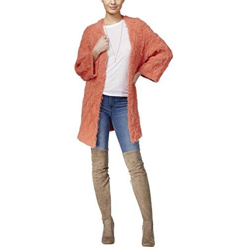GUESS Womens Eyelash Open Front Cardigan Sweater Orange (Guess Wool Sweater)
