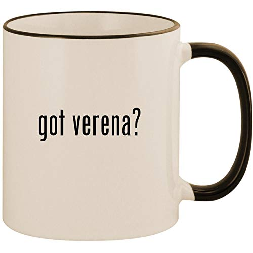 got verena? - 11oz Ceramic Colored Handle & Rim Coffee Mug Cup, Black