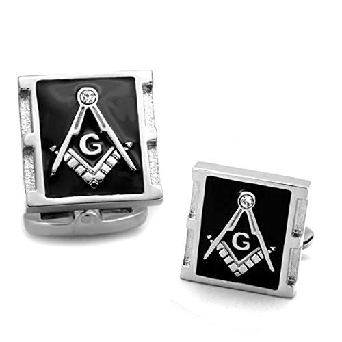 - Drop of Silver Masonic Stainless Steel Silver Tone Freemason Rectangle & Crystal Cufflinks