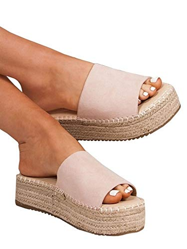 Womens Slip On Platform Espadrille Sandals Open Toe Flat Casual Summer Slides Pink