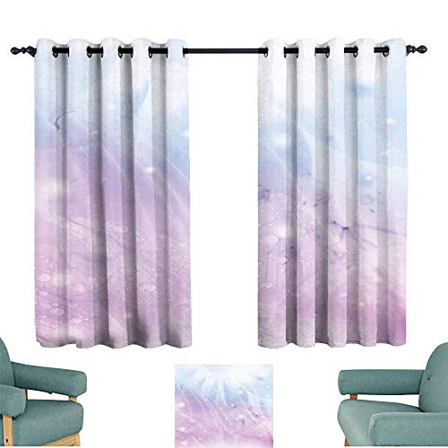 HCCJLCKS Room Darkened Heat Insulation Curtain Abstract Environment Inspired Floral Pattern in Blue Pink Backdrop Natural Flowers Blackout Draperies for Bedroom Window W63 xL72 Baby Pink Baby Blue