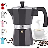 Zulay Classic Stovetop Espresso Maker for Great Flavored Strong Espresso, Classic Italian Style 3 Espresso Cup Moka Pot, Makes Delicious Coffee, Easy to Operate & Quick Cleanup Pot (Dark Gray)