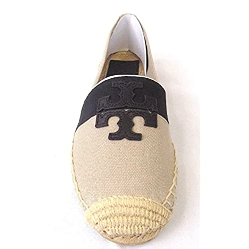 0b90e88d6 Tory Burch Weston Flat Espadrille Canvas Natural Black Shoes 9 ...