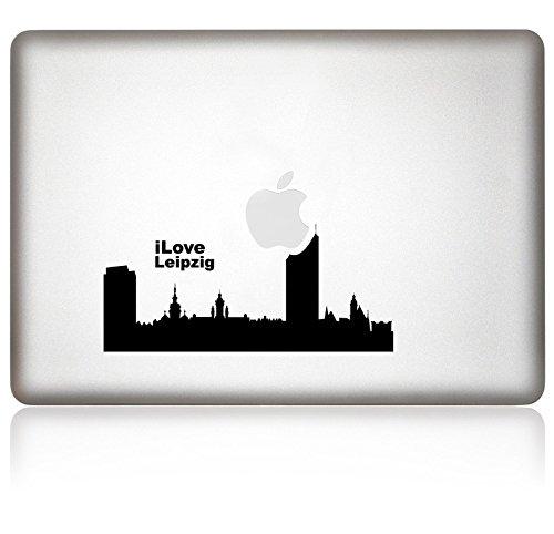 Mela colla i love Leipzig adesivo per Macbook