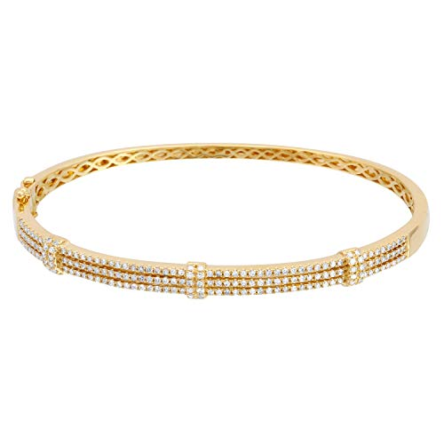 14k Yellow Gold Oval Bangle Bracelet Hinged With 0.77 Ct Round Diamond Jewelry For Teen's (Diamond Oval Bangle)
