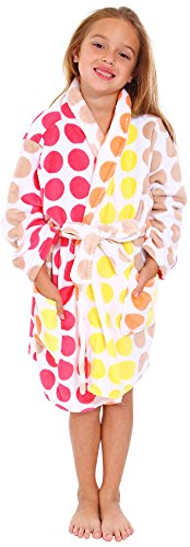 Simplicity Girl's Winter Plush Bathrobe Robe w/ Long Sleeve, Pockets,Muti Dot1,S