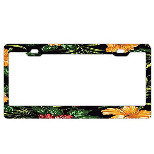 DIY Floral License Plate Frames, Premium Waterproof Stainless Steel Licence Plate for Front and Back License - Tropical Hibiscus Retreat (Tropical Retreat)
