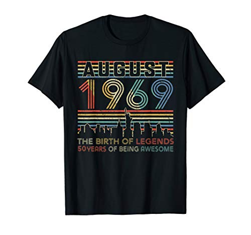 AUGUST 1969 T-Shirt 50th Birthday Gifts 50 Year Old TShirt
