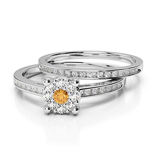 G-H/VS 0,10 ct Coupe ronde sertie de diamants Citrine et diamants blancs et bague de fiançailles en platine 950 Agdr-1052