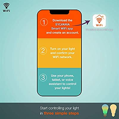 SYLVANIA Smart+ Wi-Fi Soft White Dimmable A19 LED Light Bulb, CRI 90+, 60W Equivalent, Works with Alexa and Google…