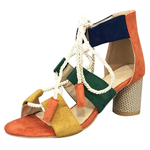 2019 Summer JJLIKER Fashion Suede Colorblock Gladiator Sandals Ankle Tie Strap Open Toe Block High Heel Pumps for Women ()