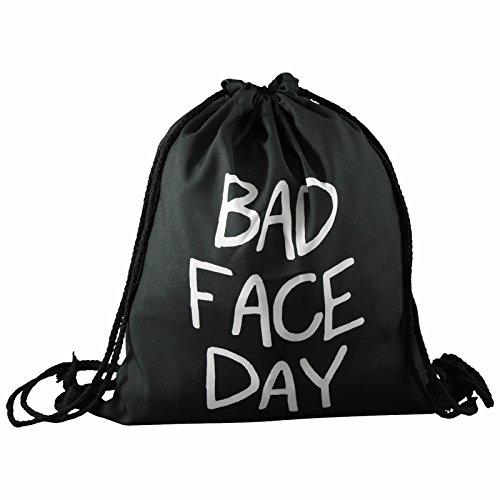 Beutel Bad Face Day in schwarz Bag Stringbag Kordel Gym Tasche Jutebeutel Turnbeutel von Lavazio Schwarz