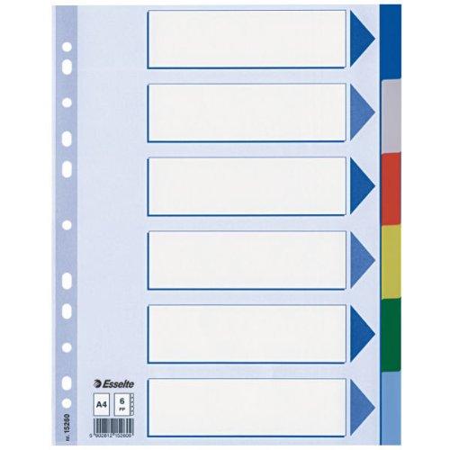 Esselte Rubrica numerica Multicolore Formato A4 Maxi Rinforzo in mylar 20649 Polipropilene