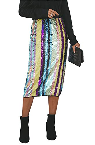 (MarcoJudy Womens Rainbow Striped Tie Dye High Waist Bodycon Midi Pencil Skirt (Medium, Sequin))
