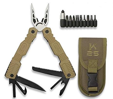alicate Coyote K25 con Funda 19 cm usos para Caza, Pesca, Camping, Outdoor, Supervivencia y Bushcraft K25 33797 + Portabotellas de regalo