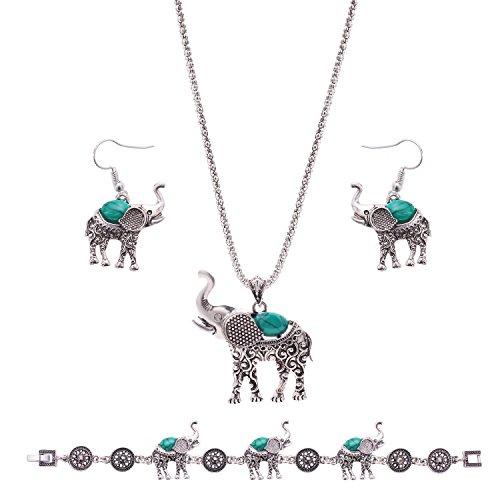 OUFO Women Girls Turquoise Crystal Elephant Vintage Silver Jewelry Set Ethnic Elegant Boho Necklace Pendant Earring Bracelet (3145)