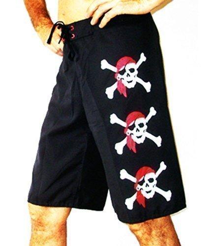 Double Duck Nero Pantaloncini Pantaloncini Da Barca Nuoto Pantaloncini Con 3 Pirata Teschi, Vacanze Costume Nero Nuovo Con 3 Pirata Teschi