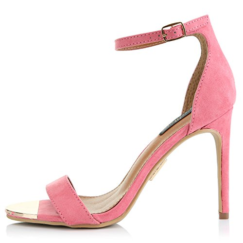 DailyShoes Womens Stilettos Sandal Open Toe Ankle Buckle Strap Platform Evening Party Dress Casual Shoes Mauve Suede yrWEWEo2JE