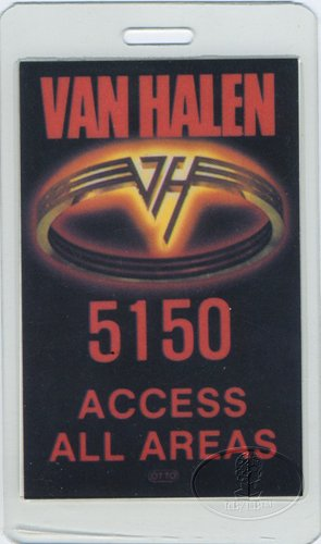 Backstage Pass Van - Van Halen 1986 5150 Laminated Backstage Pass