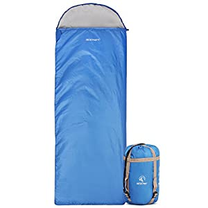 """REDCAMP Ultra Lightweight Sleeping Bag for Backpacking, Comfort for Adults Warm Weather, Hooded with Compression Sack Blue (87""""x 32.5"""")"""