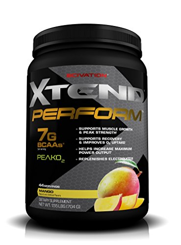 Scivation Xtend Perform BCAA Powder, Peak O2, Glutamine, Citrulline Malate, Mango, 44 Servings, 1.55 Pound