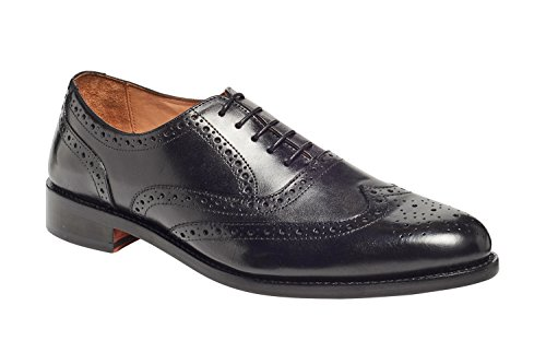 Carlos by Carlos Santana Men's Mission Full Brogue Wingtips Shoes In Goodyear Welted Construction (7 D, Black) Welted Brogue