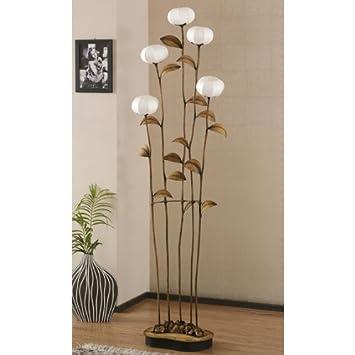 grande lampe salon sensitive 5 branches sur pied papier hanji fleurs asie zen - Lampe Sur Pied Fleur