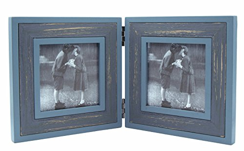 Double Folding 4x4 Cyan-Darkgray Wood Picture Frame with Glass Front - Weathering Wood Finished - Stands Vertically on Desktop or Table Top