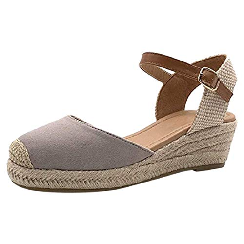 - Women Closed Toe Wedge Platform Shoes Espadrilles Cap Toe Pumps Ankle Strap Mid Heel Weaving Shoes by Lowprofile Gray