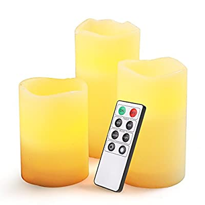"""XKTTSUEERCRR Flameless Candle - Battery Operated Unscented Flickering Amber Yellow Flame & Ivory Colored Wax Pillar Candle for Decoration + Timer Remote Controller - 3 PACK (4"""", 5"""", 6"""" Tall, 3"""" Wide)"""
