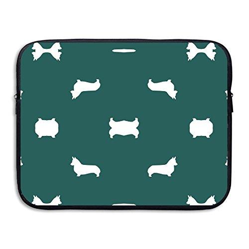 GSIAHALJ Portable 13-15 Inch Laptop Sleeve, Neoprene Fabric Eden Green Silhouette Dog Fabric Cute Dog De Pattern Single Face Protective (Eden Pattern)