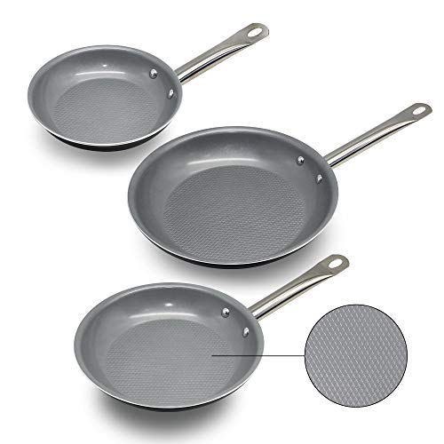 Culinary Edge 3D Diamond Textured Bottom Ceramic 3-Piece Cookware Nonstick | 8-Inches, 9.5 Inches, 11 Inches | Oven-Dishwasher Safe Fry Pan Set -Grey/Black