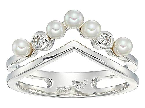 Majorica Women's Arabesque - 3 mm White Round Pearls Ring with CZ in Sterling Silver White 7