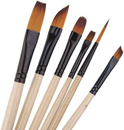 【ノーブランド品】多機能 ブラシ 水彩 油絵 絵画 用筆 画筆 ブラシ 絵画用 絵筆 画筆 6本セット