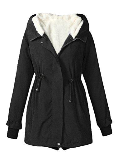 Manteau Capuche Matchlife D'hiver Intérieur Parka Femme Noir Polaire Avec Encapuchonnée 5f5WBIrn