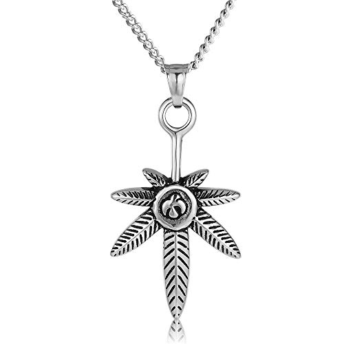 (ATDMEI Weeds Maple Leaf Pendant Necklace for Mens Women Stainless Steel Vintge Gothic Jewelry Gifts)