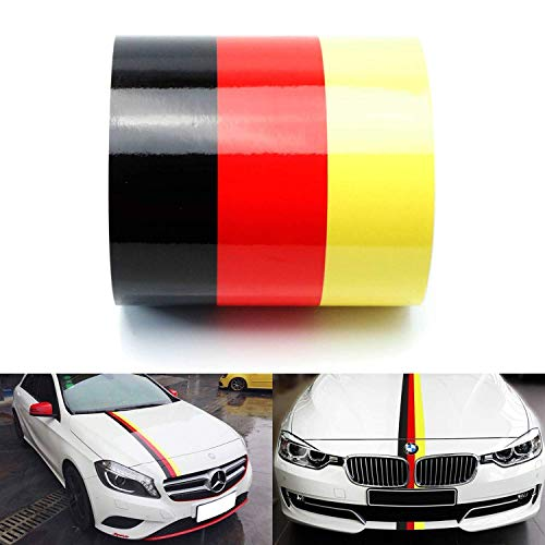 iJDMTOY (1 6 Wide Germany Flag Stripe Decal Sticker for Audi BMW Mercedes Mini Porsche Volkswagen Exterior Cosmetic, Such As Hood, Front/Rear Bumpers, Side Fenders, Roof, etc
