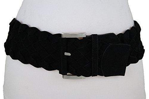 Braided Square Buckle Belt - TFJ Women Wide Black Braided Band Fashion Belt Silver Metal Square Buckle S M Black