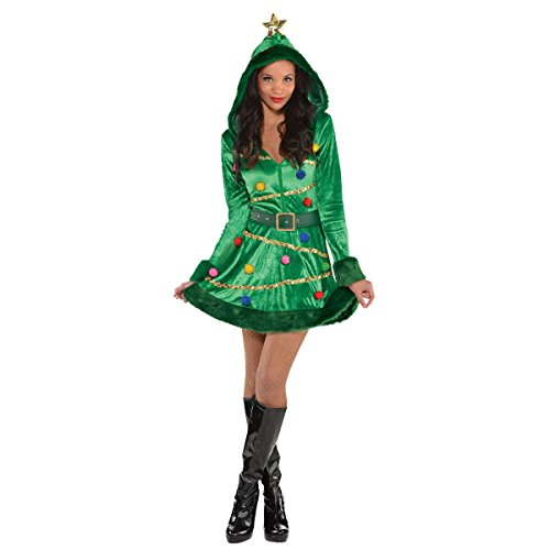 Amscan Christmas Tree Dress for Women, Christmas Costume, Large, with Faux Fur -