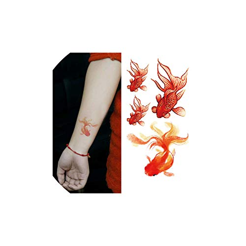 Waterproof Fake Tattoo Small Cute Goldfish Body Temporary Tattoos Sticker On feet,As Picture -