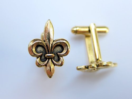 24K Gold Plated Fleur Di Lis Cufflinks By Classic Cufflinks, Men's Fashion Cufflinks- Unique and Perfect Gift for All Occasions